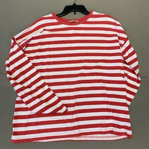 Zara red and white stripe oversize long sleeve top